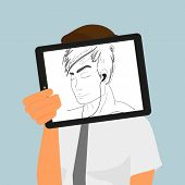 Guy holds tablet pc displaying hand drawing