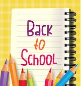 Back to School Word with School Items