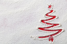 image of winter trees  - Christmas tree on flour background - JPG