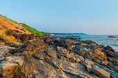 Deserted Rocky Shore Of The Indian Ocean