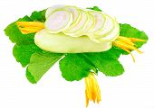 stock photo of marrow  - White vegetable marrow with green foliage and yellow blossom on white background - JPG
