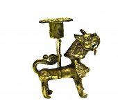 Bronze Candlestick Figurine Of Dragon, Nepal