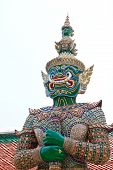 pic of guardian  - Green guardian stupa in Bangkok of Thailand temple - JPG