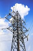picture of power transmission lines  - Power Transmission Line in outdoor land view - JPG