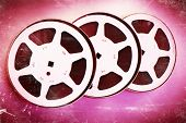 stock photo of mm  - 16 mm reel old movie film archive - JPG