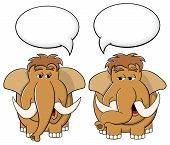 Two Cartoon Mammoths Talk To Each Other