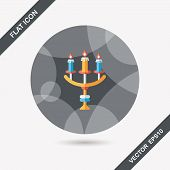 Halloween Candlestick Flat Icon With Long Shadow,eps10