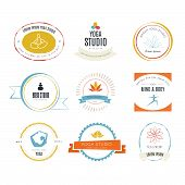 pic of ashtanga vinyasa yoga  - Set of logos for yoga studio or meditation class - JPG