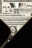 stock photo of fulcrum  - Open zipper with black cloth against background with lot of one dollar bills - JPG