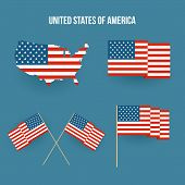 Set of american flag and map. Flat design