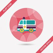Ambulance Car Flat Icon With Long Shadow,eps10