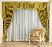 picture of curtain  - A beautiful curtain in a luxury living room - JPG