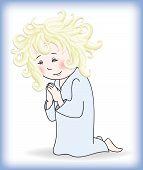 child prays to God