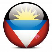 Map On Flag Button Of Antigua And Barbuda