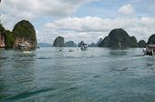 Phang Nga Bay,Th-Sept,20 2014:Limestone cliffs in Phang Nga Bay, Andaman Sea, Thailand