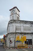 Phuket Town,TH-Sept,22 2014:Promthep Clock Tower at the old street in Phuket, Thailand