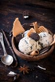 picture of ijs  - Stracciatella ice cream with cookies on wooden backgroundselective focus - JPG