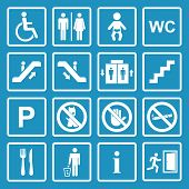 stock photo of escalator  - Vector white public icons set with toilet - JPG