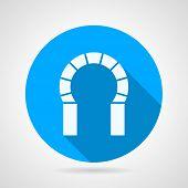 Flat round icon for brick horseshoe arch