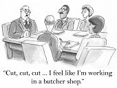 picture of cut  - Cartoon of businessman saying to team - JPG