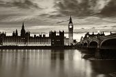 picture of london night  - Monochrome Big Ben and London at night London and England - JPG