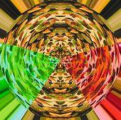 Arrangement of a colorful quilt design