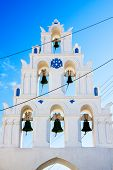 picture of blue-bell  - Bell tower of church above the beautiful blue bay at SantoriniGreece - JPG