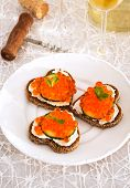 Heart Shaped Toasts  With Red Caviar And White Wine