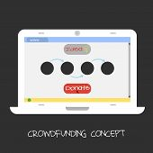 Vector crowdfunding concept. Online fund the project. Laptop