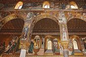 picture of church interior  - Detail Interior of the famous Cappella Palatina in the Palazzo Reale in Palermo in Sicily Italy - JPG