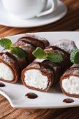 Delicious Breakfast: Chocolate Crepes With Ricotta Vertical