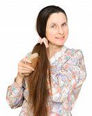 Adult Woman Brushing Hair
