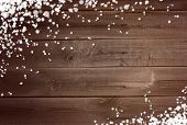 Snowing Background On Wooden Surface