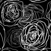 Seamless Black Rose Pattern