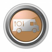 foto of food truck  - Icon Button Pictogram with Food Truck symbol - JPG