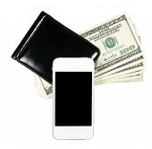 Smartphone Lying On The Purse With Banknotes Of United States, Isolated On A White