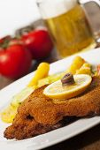 pic of wieners  - wiener schnitzel with potato salad on wood - JPG