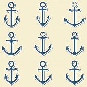stock photo of anchor  - Anchors in blue colors - JPG