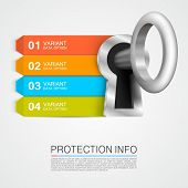 stock photo of key  - Protection info art key banner - JPG