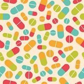 Pills Collection. Medical Pills And Capsules Seamless Pattern. Colorful Pharmacy Background