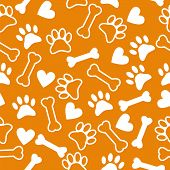 foto of hound dog  - Seamless pattern with dog paw print bone and hearts - JPG