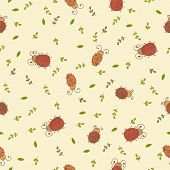 Seamless Pattern With Leaves And Ladybirds