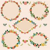 Set Of Floral Romantic Frames. Floral Frames Collection