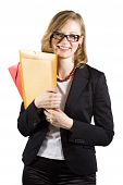 Smiley Businesswoman With Colored Folders