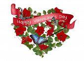valentine banner with butterflies