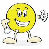 picture of thumbs-up  - Cartoon illustration of a happy face with hands and legs showing a  - JPG