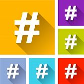 stock photo of hashtag  - illustration of flat design set icons for hashtag - JPG