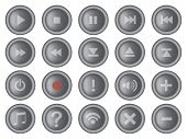 Round Interface Buttons Design Set Vector Illustration