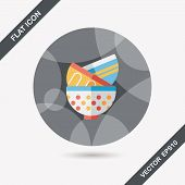 Kitchenware Bowl Flat Icon With Long Shadow,eps10