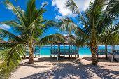 picture of samoa  - Beautiful tropical beach on the coast of Samoa - JPG